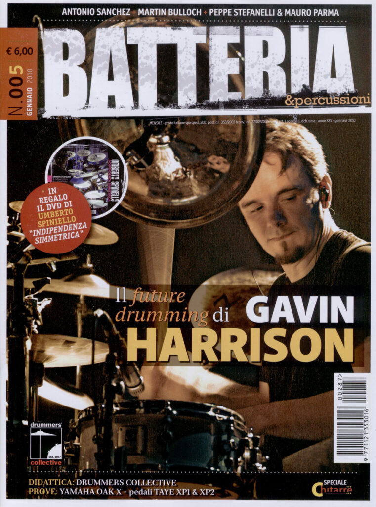 Gavin Harrison: Batteria Magazine Cover - January 2010